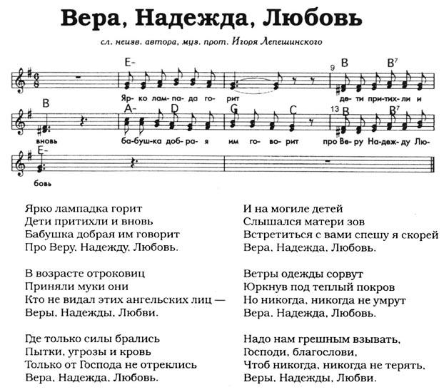 скачать песню вера надежда любовь